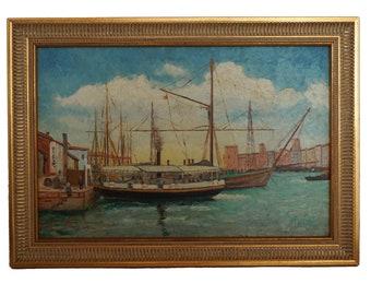 Harbor and Sailing Boat Painting, Antique French Mediterranean Coastal Original Signed Art
