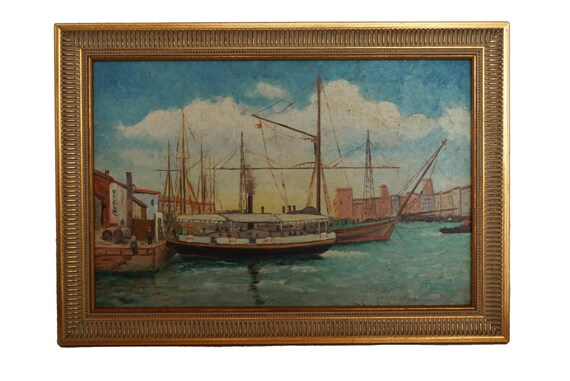 Harbor and Sailing Boat Painting, Antique French Mediterranean Coastal Art Signed A Rombi