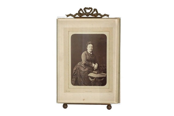 French Antique Photo Frame with Ribbon and Beveled Glass, Victorian Lady Portrait by Walery