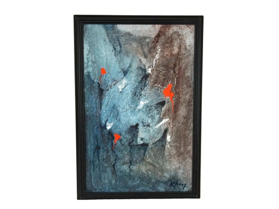 1970s Modernist Abstract Art Painting, Signed and Framed Original Wall Decor