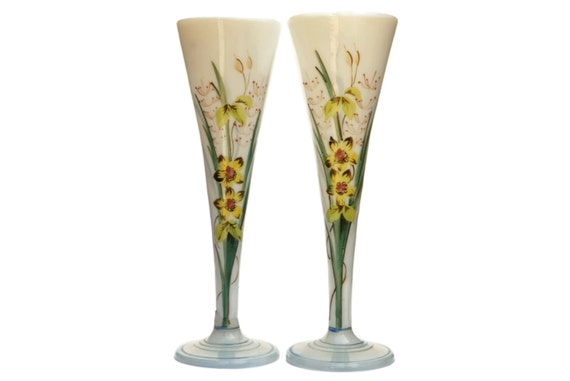 Opaline Art Glass Vases, Pair of Antique French Hand Painted Bud Vases