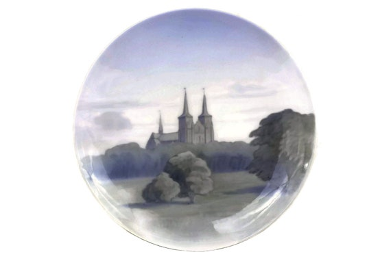Royal Copenhagen Porcelain Landscape Plate, Collectible Hand Painted Ceramic Wall Art