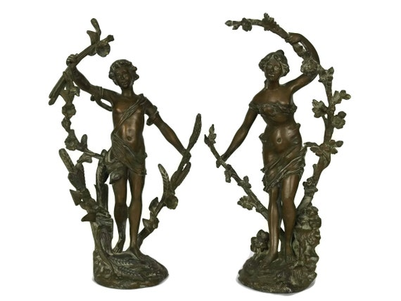 Antique Austrian Statuettes by Emil Fuchs, Original Figural Signed Sculptures, Girl & Boy Art Figures with Flower and Wheat