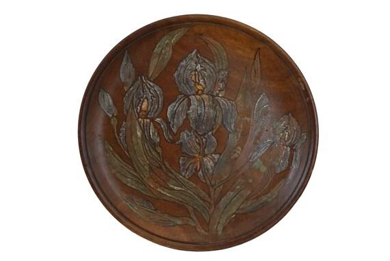 Art Nouveau Wooden Fruit Bowl with Hand Painted Iris Flowers, Antique French Centerpiece Platter