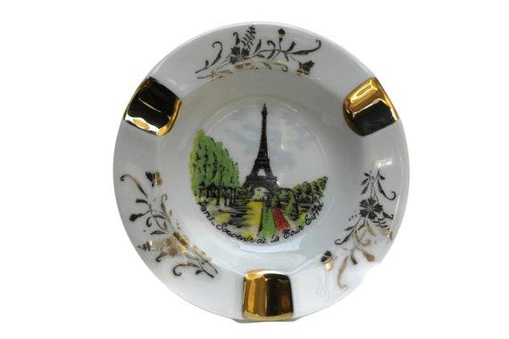 French Vintage Eiffel Tower Ashtray, Limoges Porcelain Coin Dish, Paris Souvenir