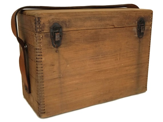 Wooden Tool Box with Leather Strap and Lid