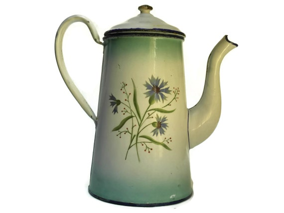 Shabby French Enamelware Coffee Pot.