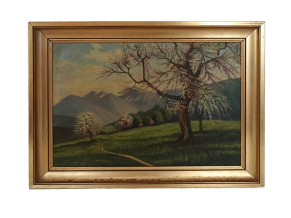 Cherry Blossom Tree and Mountain Painting in French Country Landscape, Original Scenic Art