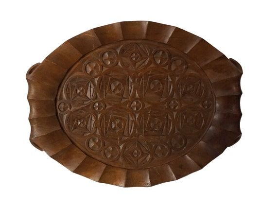 Art Deco Geometric Wood Tray, French Hand Carved Signed Wooden Platter