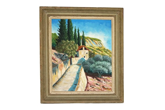 French Country Landscape Oil Painting, Original Signed Art, Provence Wall Decor