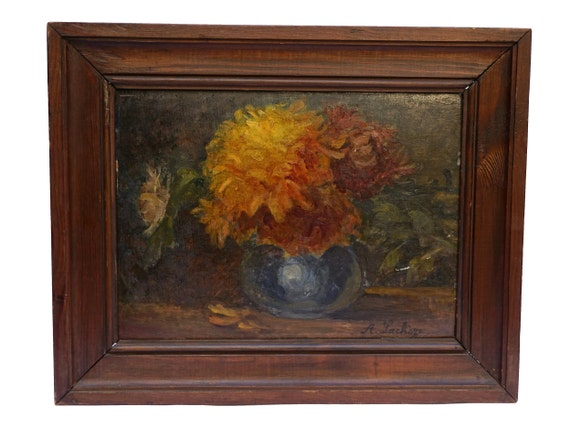 French Flower Still Life Painting with Dahlias, Antique Original Framed Art