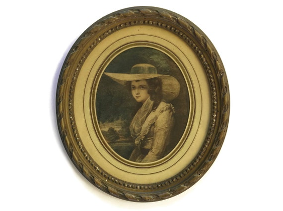 French Antique Engraving Portrait of Lady in Straw Hat with Blue Ribbon.