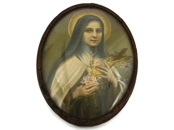 Saint Therese of Lisieux Portrait Souvenir, Antique French Religious Art Print in Oval Frame with Domed Glass, Catholic Gifts
