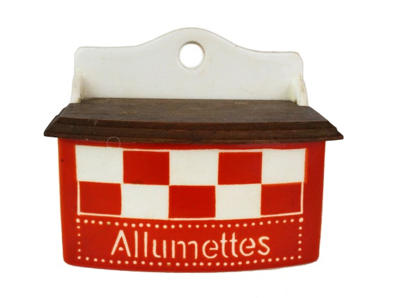 Art Deco Ceramic Match Box by Ditmar Urbach, Antique Pottery French Allumettes Holder, Cottage Kitchen Decor