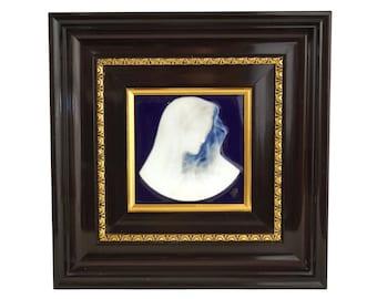 Virgin Mary Cameo Portrait, Vintage French Limoges Porcelain Religious Plaque