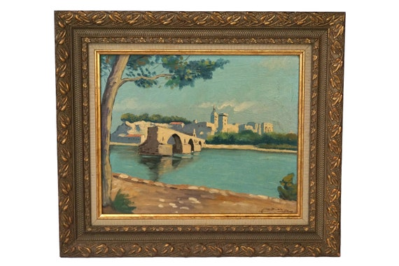 Avignon Bridge and River Painting, Antique French Signed Art