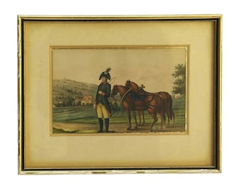 Antique Equestrian & Military Painting, 19th Century Soldier in Uniform Art