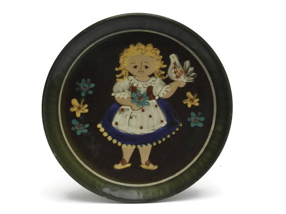 Vintage Pottery Plate with Swiss Girl and Flowers. Hugo Kohler Biel. Folk Art Wall Plate.