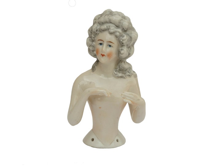 Antique Porcelain Half Doll with Arms Away, Marie Antoinette German Nude Pincushion Figurine