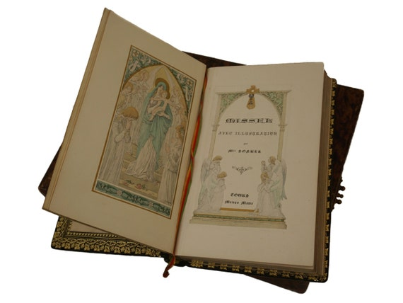 Antique French Leather Bound Missal with Art Nouveau Illustration by Elisabeth Sonrel, Roman Catholic Prayer Book