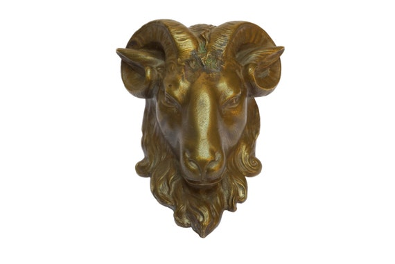 Antique Bronze Ram Head Figure, 19th Century French Gothic Furniture Ornament