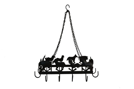 French Hanging Pot Rack and Pan Holder with Hooks and Farm Animal Figures, Rustic Kitchen Gifts and Decor