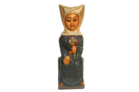 Vintage Medieval Lady Statue, Hand Carved Wooden Sculpture