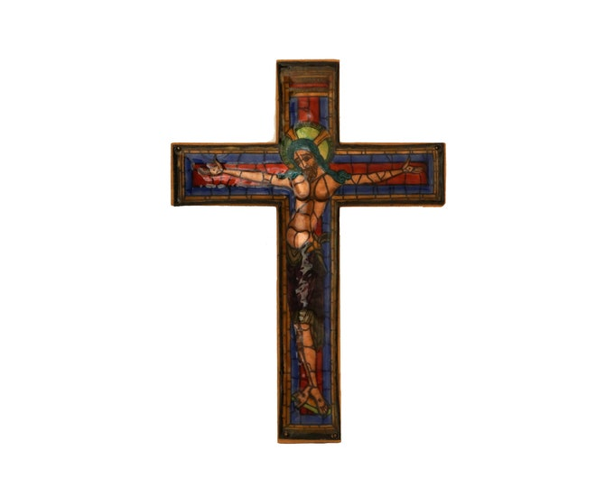 French Enamel Hanging Crucifix, Mid Century Stained Glass Style Wooden Cross