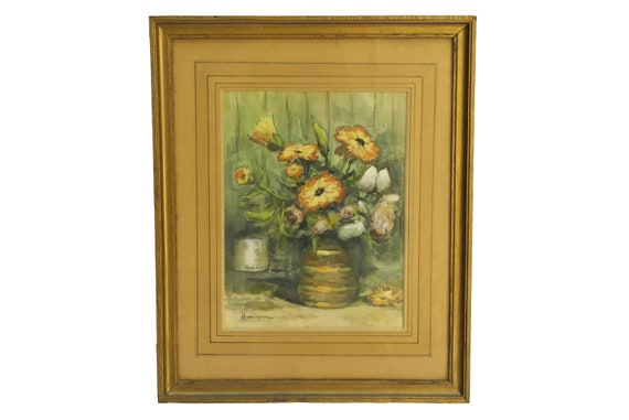Flowers in Vase Still Life Watercolor Painting, French Antique Floral Original Art