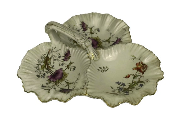 Antique Victorian Hors d'oeuvre Platter, Wiltshaw & Robinson Stoke on Trent Trefoil Sweetmeat Dish with Poppy Pattern