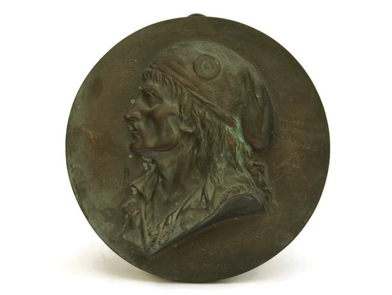 French Antique Bronze Plaque of Jean-Paul Marat of the French Revolution. Antique Portrait Wall Plaque.