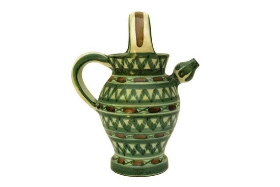 Robert Picault Vallauris Pottery Pitcher, Mid Century Ceramic Art Studio Wine Jug