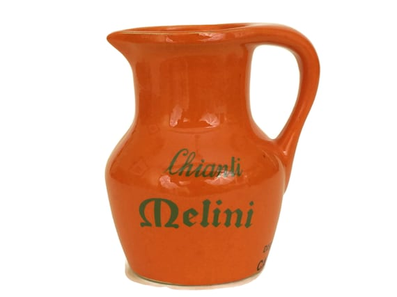 Vintage Melini Chianti Red Wine Pitcher. Orange Ceramic Jug with Italian Advertising. Bar Decor and Wine Lover Gifts.