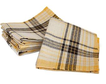French Plaid Linen Napkins Set of 12,  Mid Century Table Serviettes