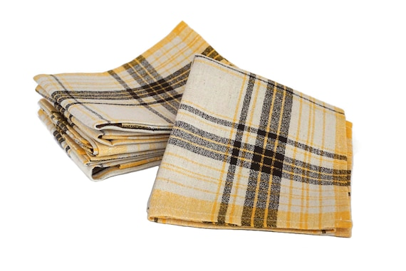 French Plaid Linen Napkins Set of 12,  Mid Century Table Serviettes