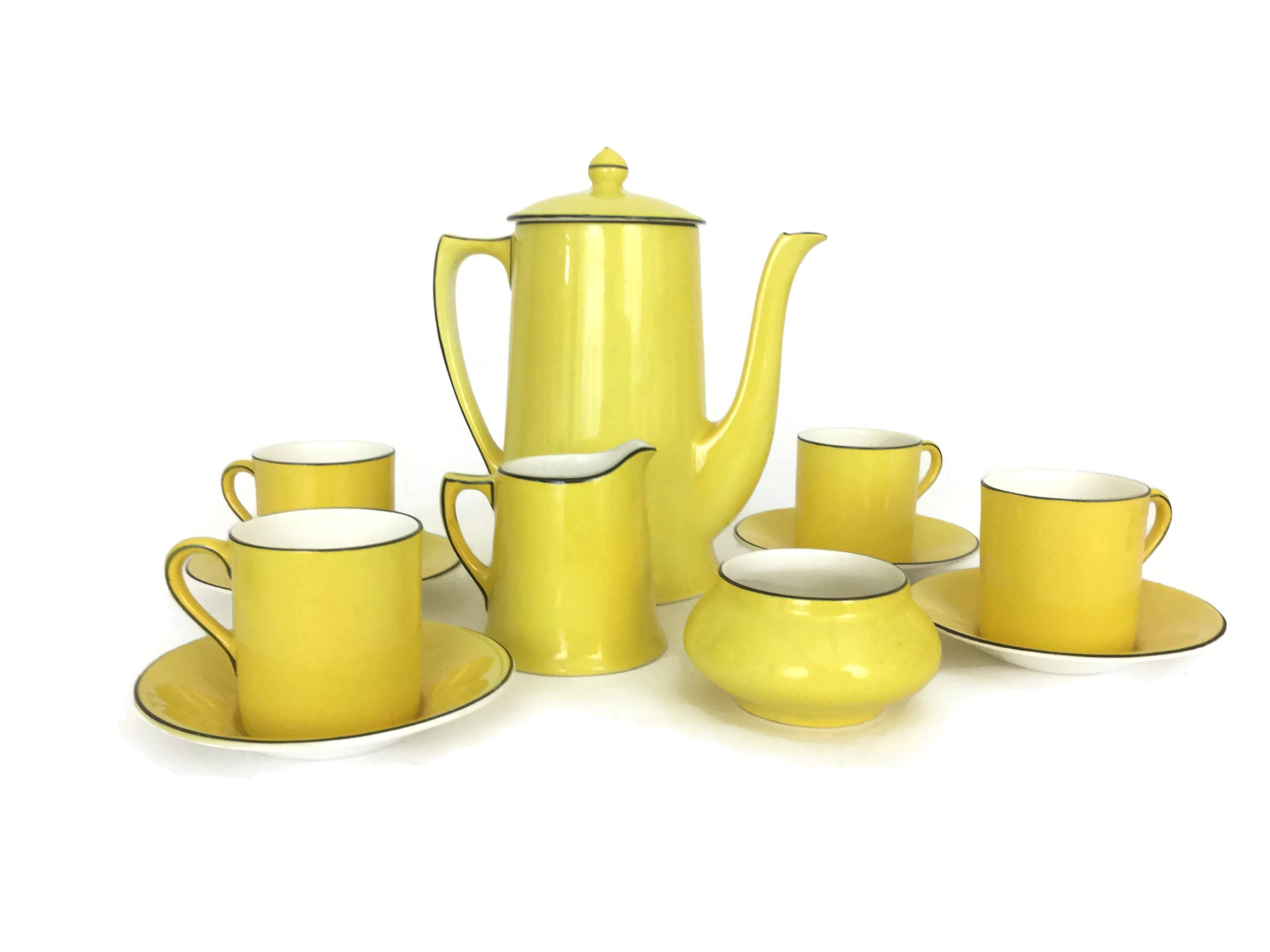 Yellow Art Deco Coffee Pot And Demitasse Cup Set By Crown Ducal