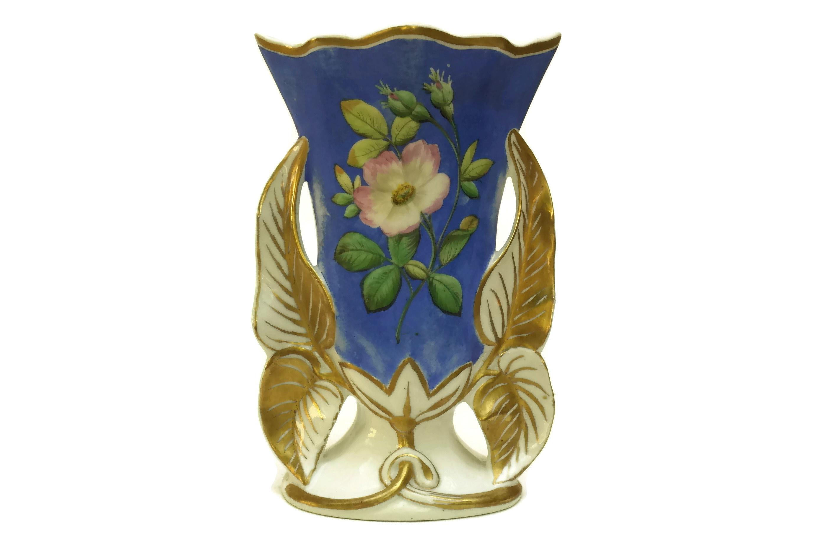 Antique Porcelain Wedding Vase French Bridal Vase Gold And White