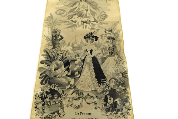 Antique French Stevengraph Silk Weaving, 1900 Universal Exhibition of Paris Souvenir Art Wall Hanging Panel