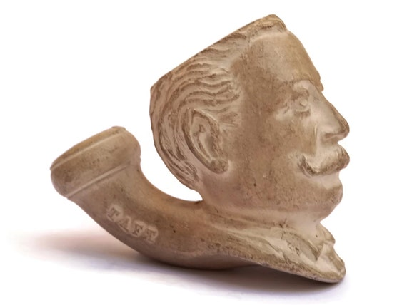 French Antique Gambier Clay Pipe Bowl with President William Taft Figurative Portrait Bust