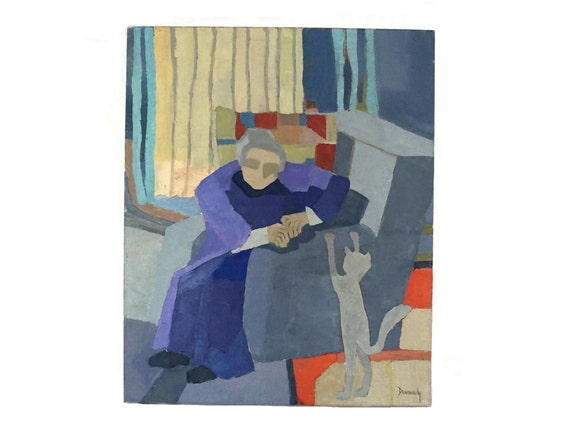 Old Woman and Cat Portrait Painting signed Robert Devourdy, French Modernist Art