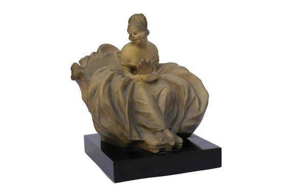 Guido CACCIAPUOTI Lady Figurine with Hand Mirror, Gres d'Arte Terracotta Statue