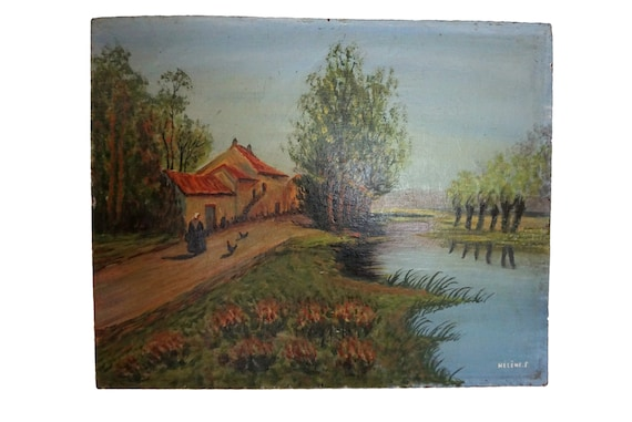 French Farm and River Painting in Country Landscape, Vintage Signed Art