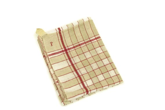 French Linen Tea Towel with Monogram Initial F, White and Red Kitchen Dish Cloth, Shabby Country Home Decor, Vintage Gifts For Her
