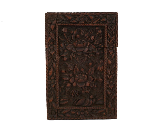 Antique Chinese Hand Carved Sandalwood Calling Card Case with Flowers, Victorian Wooden Box
