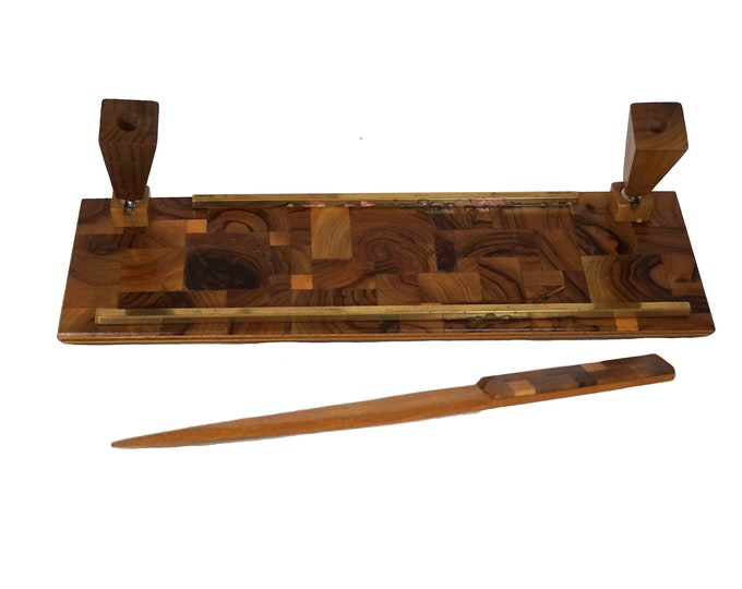 Art Deco Inlaid Wood Marquetry Desk Organizer Set with Pen Holder and Letter Opener Paper Knife