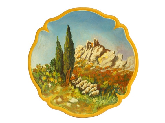 Provence Souvenir Pottery Plate, French Kitchen Wall Decor, Sheep Art