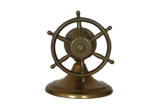 Vintage Brass Ships Wheel Nutcracker, Nautical Home and Bar Decor