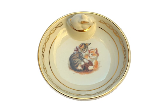 Porcelain Baby Feeding Dish with Cats