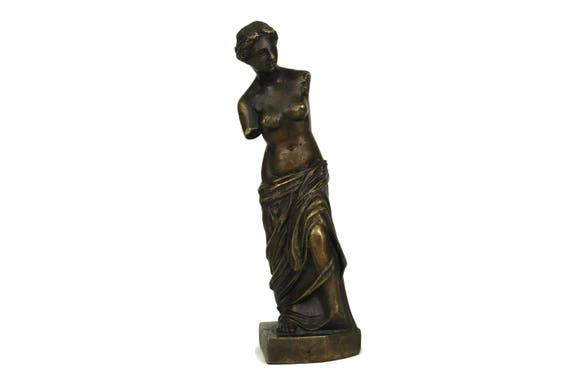 Vintage French Bronze Reproduction of Venus de Milo Figurine, Greek Goddess Aphrodite of Milos Statuette, Mythological Decor