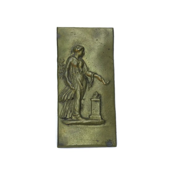 French Antique Classic Woman Bronze Plaque, Mythological Athena Goddess Figure, Furniture Hardware, Neoclassical Decor
